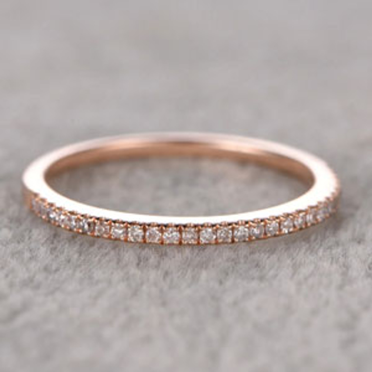 34aeaa47f5f70 Diamond Wedding Rings For Her 14k Rose Gold Thin Pave Half Eternity Band  Stacked Ring