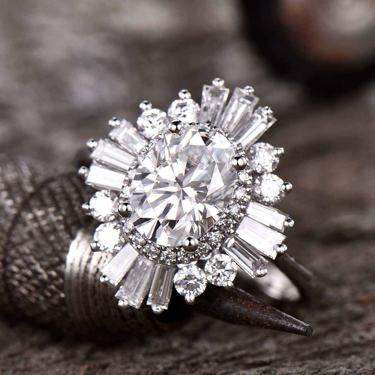 Crown Shape Band Ring Gift Rings Silver Rings Classic 6x8mm Oval Moissanite Promise Ring Colorless Moissanite Rings Silver Bridal Sets