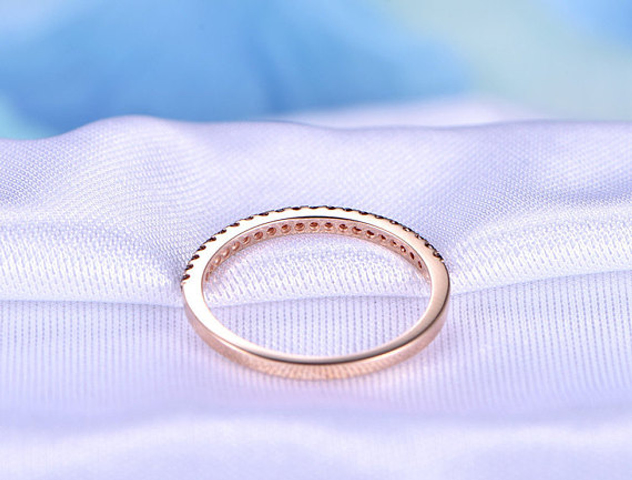 Gemstone Engagement Ring Solid 14k Rose Gold Ring Cushion Cut 5mm Natural Red Garnet Ring Floral Promise Ring Half Eternity Wedding Ring