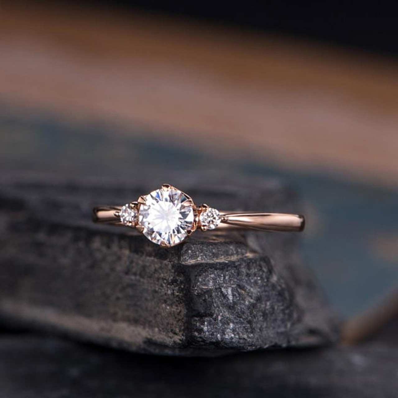 Rose Gold Moissanite Engagement Ring Three Stone Solitaire 3 Stone Eternity Bridal Wedding Women Anniversary Gift For Her Mothers Day Gift Bbbgem