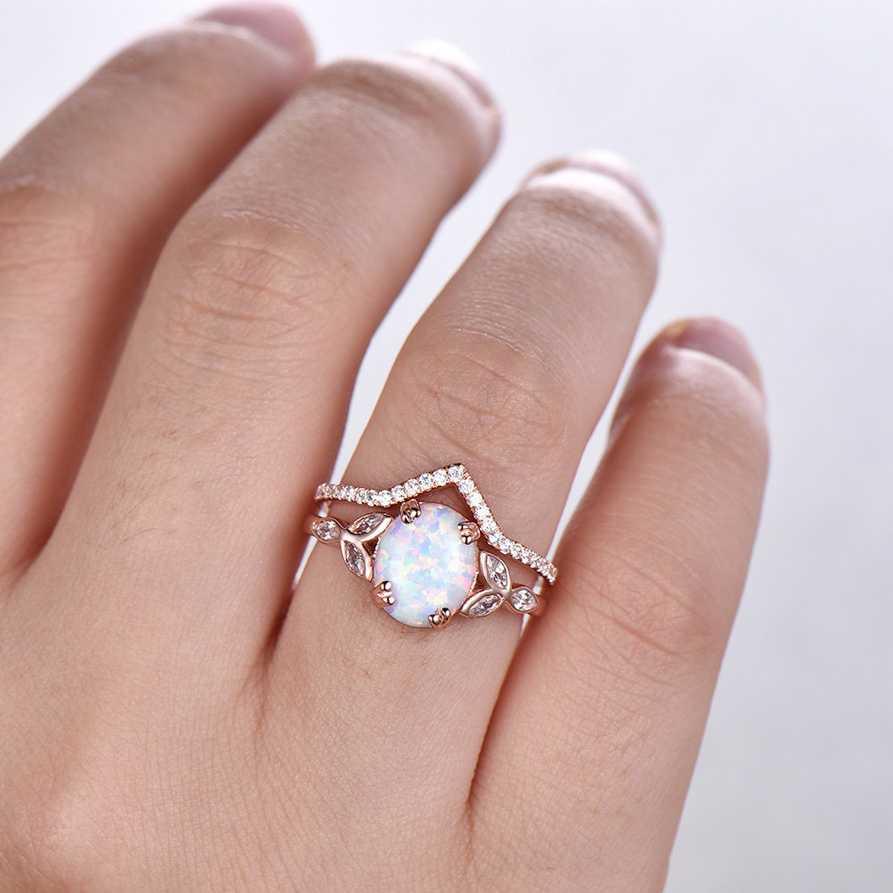 White Opal Ring Oval White Fire Opal Silver Art Deco Simulated Diamond Engagement Ring Vintage Design Sterling Silver halo Wedding Ring