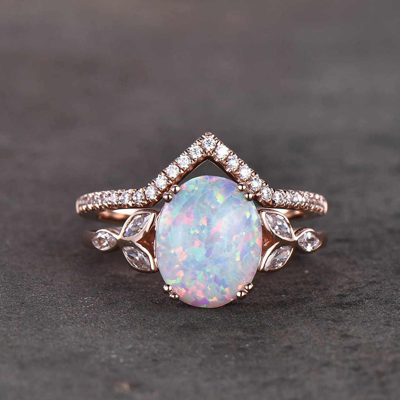 Opal Wedding Ring Set Opal Ring White Fire Opal Floral Engagement Ring Rose  Gold Plated Unique Curve Wedding Band Silver Bridal Ring Set