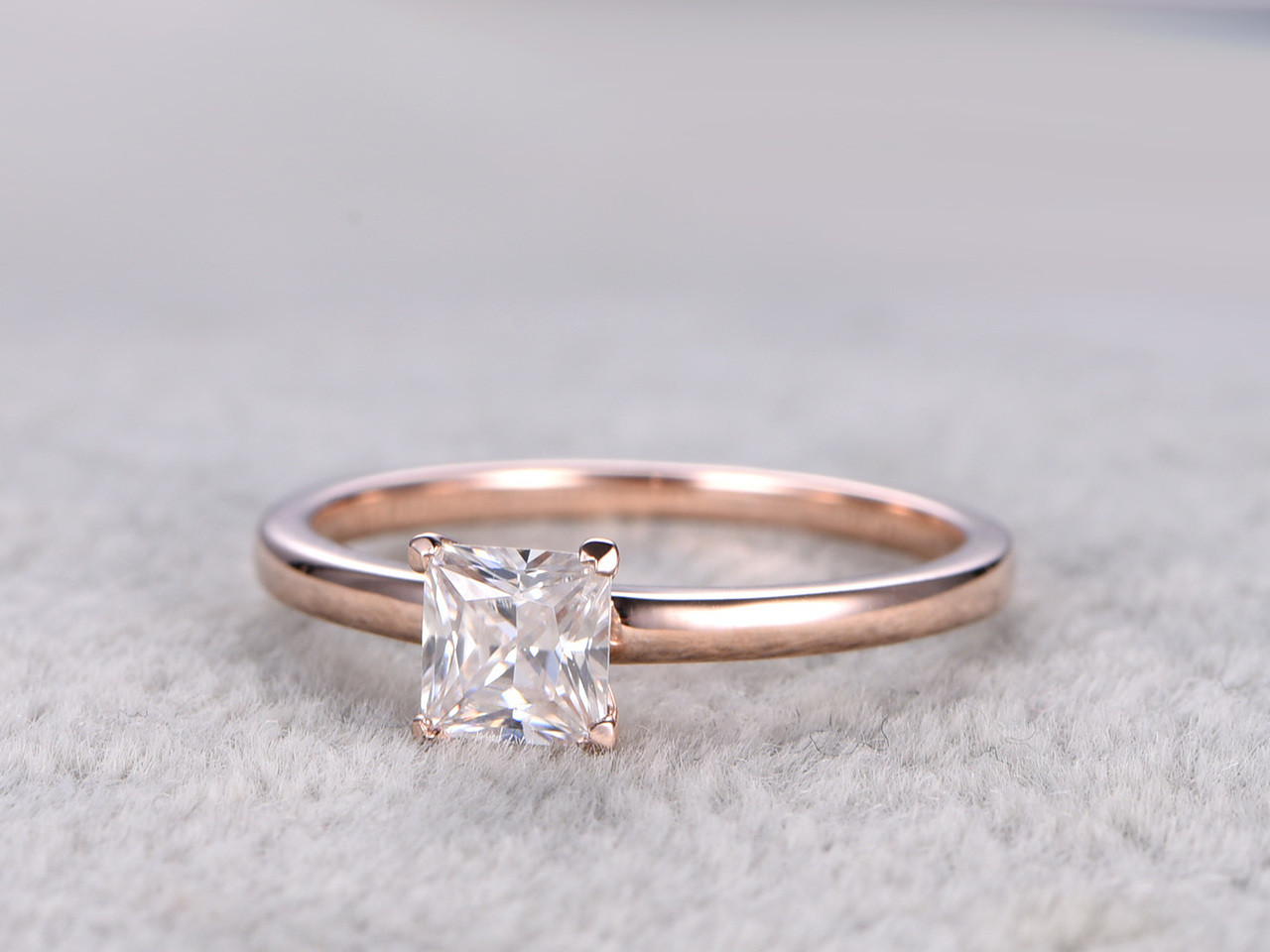 Moissanite Princess Cut Enement Ring | Moissanite Princess Cut Engagement Ring