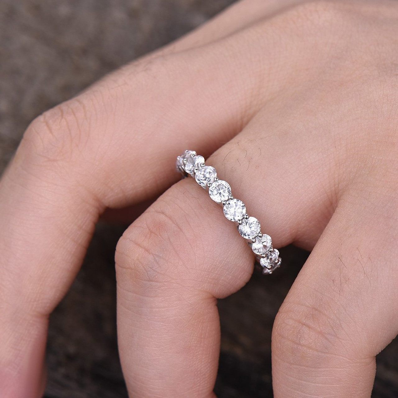 2d2682dbaab1 Forever one moissanite round cut eternity band bbbgem jpg 1000x1000 Stacking  rings anniversary