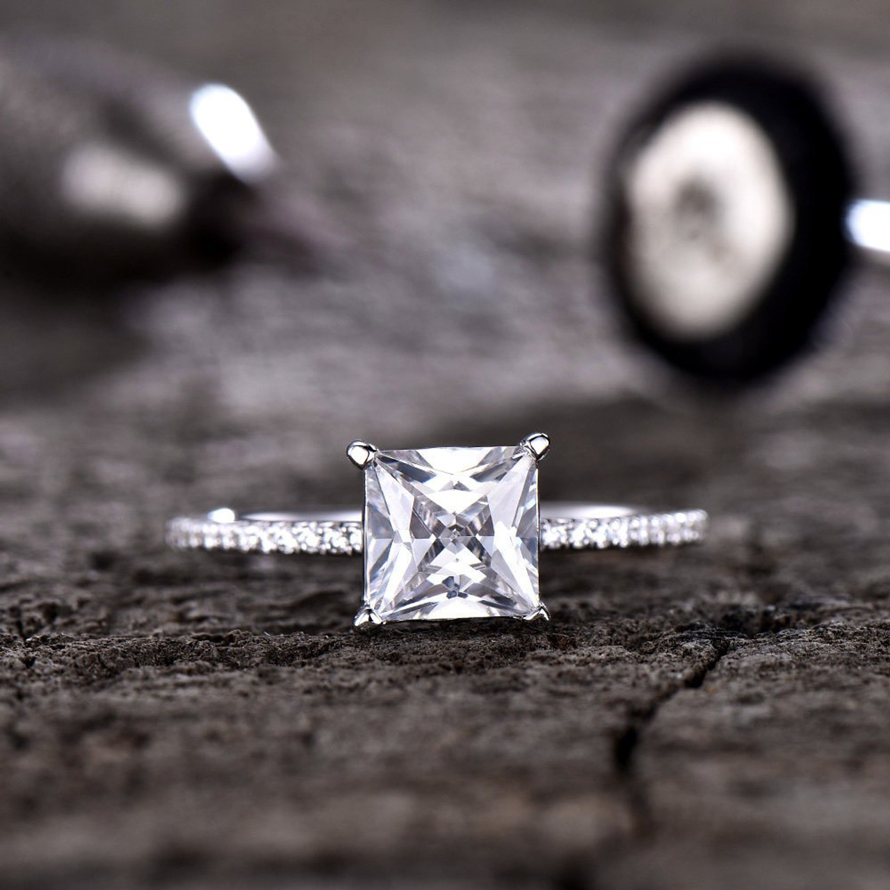 05b9a8b6c74e7 Forever One Moissanite Ring 6.5mm Princess Cut Solitaire Engagement Ring  Diamond Wedding Band Solid 14K/18K White Gold Bridal Ring