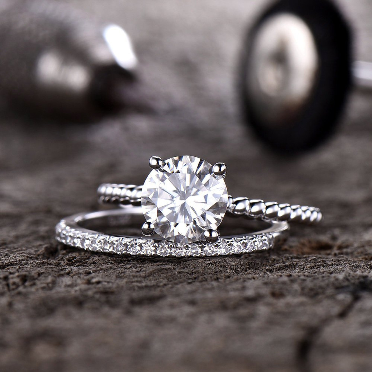 2d68ee49ac9390 Solitaire Forever One Moissanite Engagement Ring Twist Wedding Ring Half Eternity  Diamond Wedding Band 7mm Round Stone Bridal Set 14K Gold - BBBGEM
