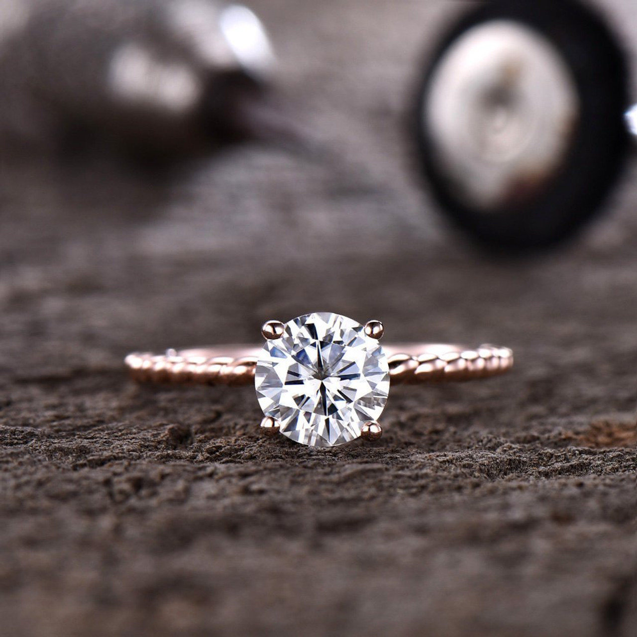 d0a1c8bf173768 Forever One Moissanite Engagement Ring 7mm Round Solitaire Ring Twist Wedding  Band Bridal Ring D-E-F Colorless Gemstone 14K Rose Gold - BBBGEM