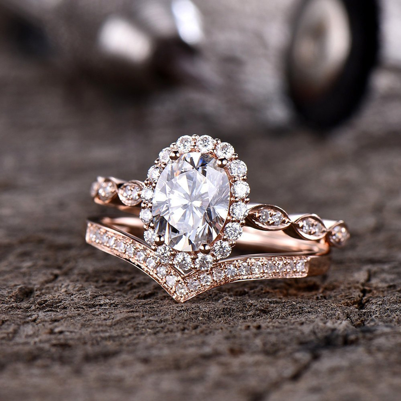 a70aef547c7 Forever One Moissanite Engagement Ring Set Art Deco Wedding Ring Vintage  Flower Halo Marquise Design Curve V Matching Band 14K Rose Gold