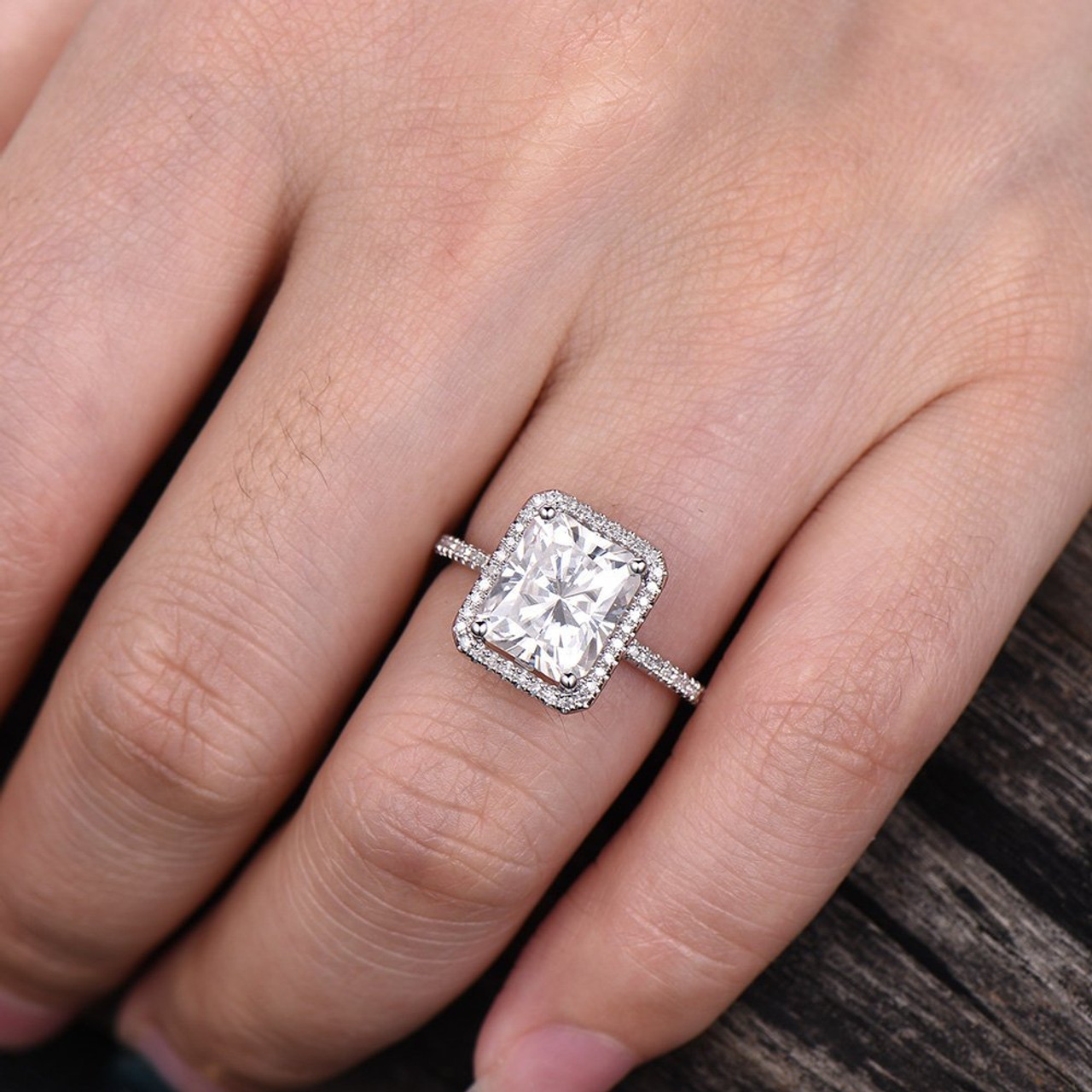Simple Radiant Moissanite Solid 14K 18K White Gold Wedding Engagement Ring for Women with Certificate