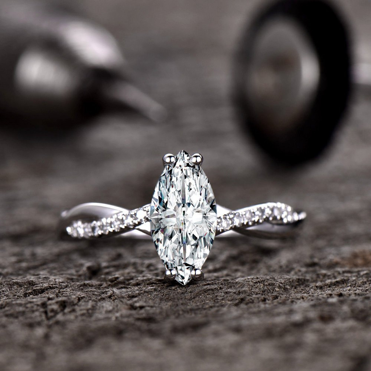 Forever One Moissanite Engagement Ring Solitaire Marquise Cut Moissanite Ring Diamond Eternity Band Infinity Wedding Band Twist 14k Gold Bbbgem
