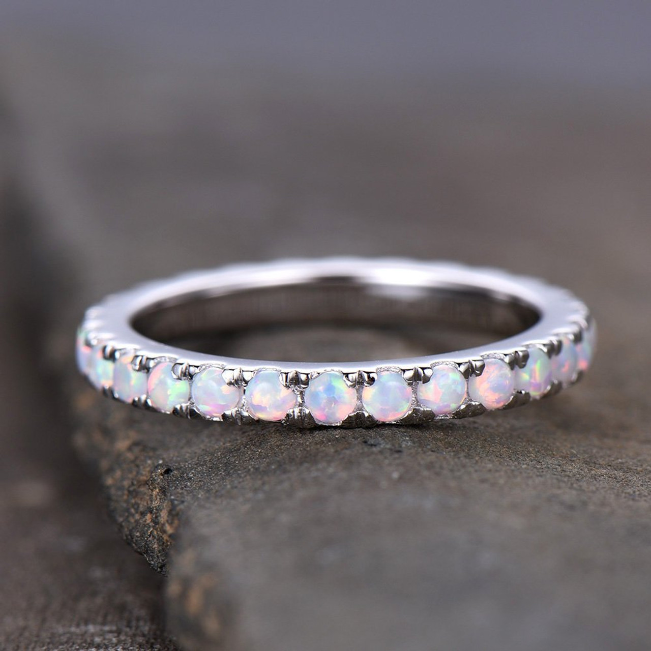 Opal Wedding Band.Opal Ring Opal Wedding Band Eternity Band Stacking Ring Matching Band Promise Ring Anniversary Gift For Women White Gold Plated