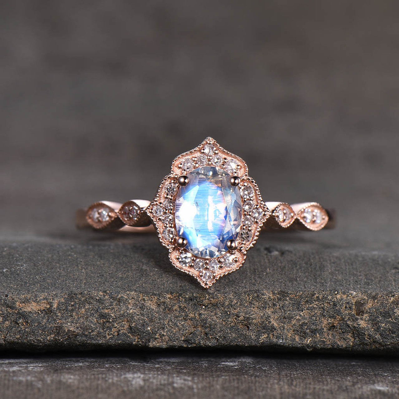Vintage Moonstone Engagement Ring Rose Gold Milgrain Bbbgem
