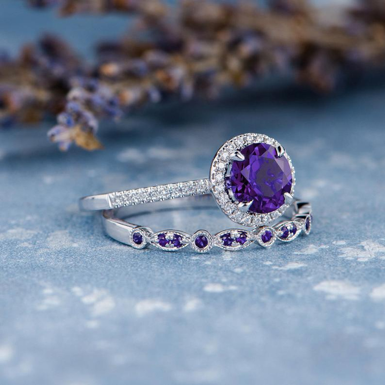 Oval Amethyst Engagement Ring Solid 14k18k Gold Ring Engagement  Gold Ring Anniversary Gift Natural Diamonds Ring