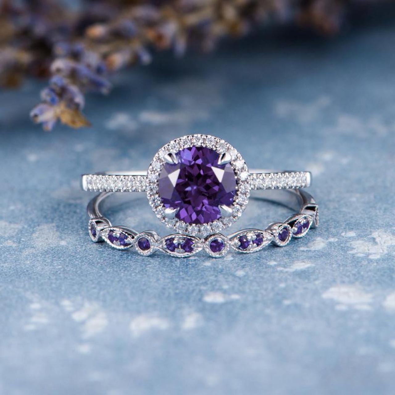 Amethyst Engagement Ring Amethyst Wedding Band Diamond White Gold Band Gift For Her Promise Women Anniversary February Birthstone 2pcs