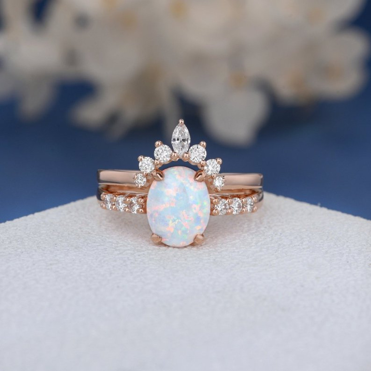 Antique Lab Opal Engagement Ring Set Bridal Set Rose Gold Unique Natural  Marquise Diamond Wedding Band Women Cluster Ring Oval Cut Opal 8pcs