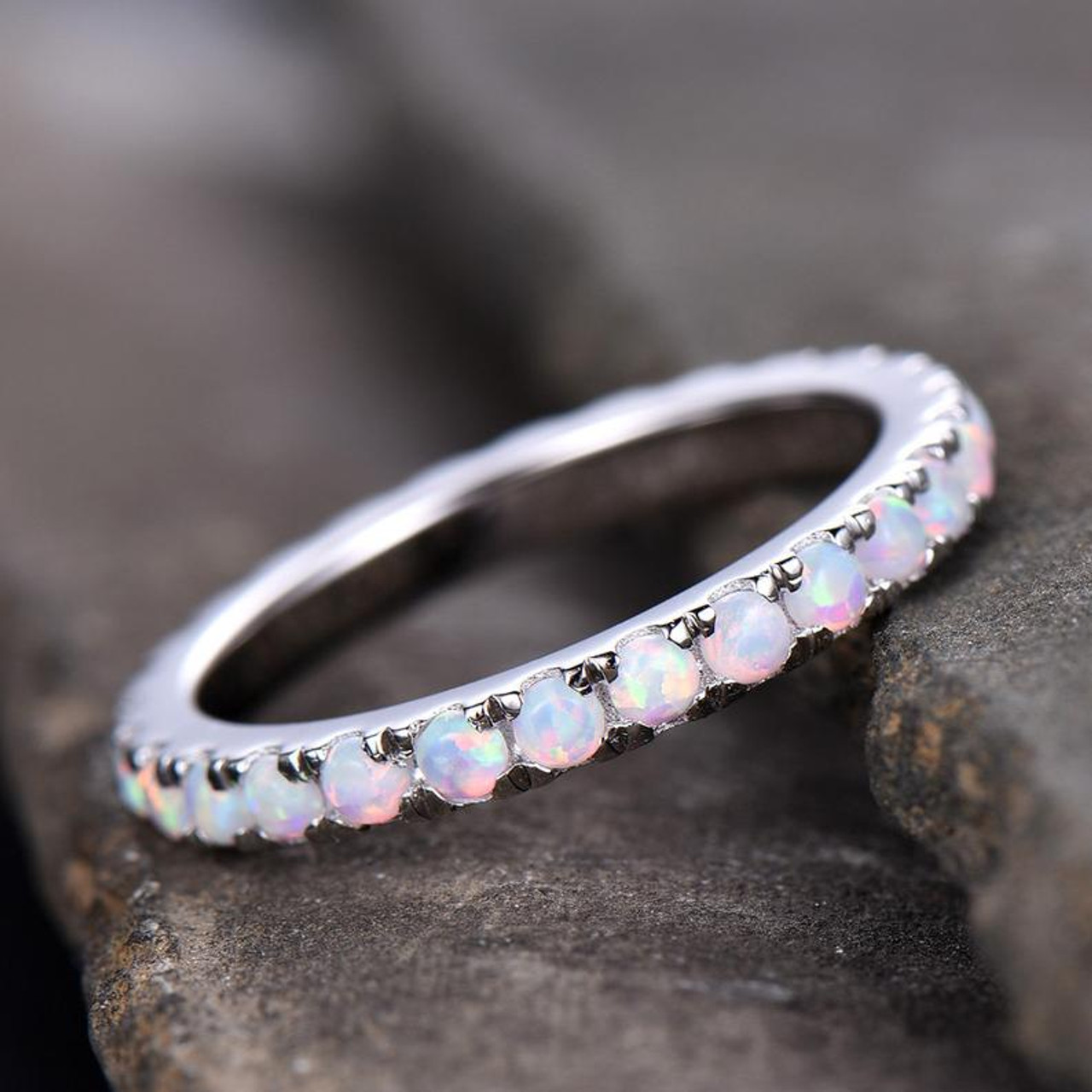 Half Eternity Alexandrite Birthstone Band Topaz and Opal 925 Sterling Silver Ring Eternity Opal Band Half Eternity Wedding Ring