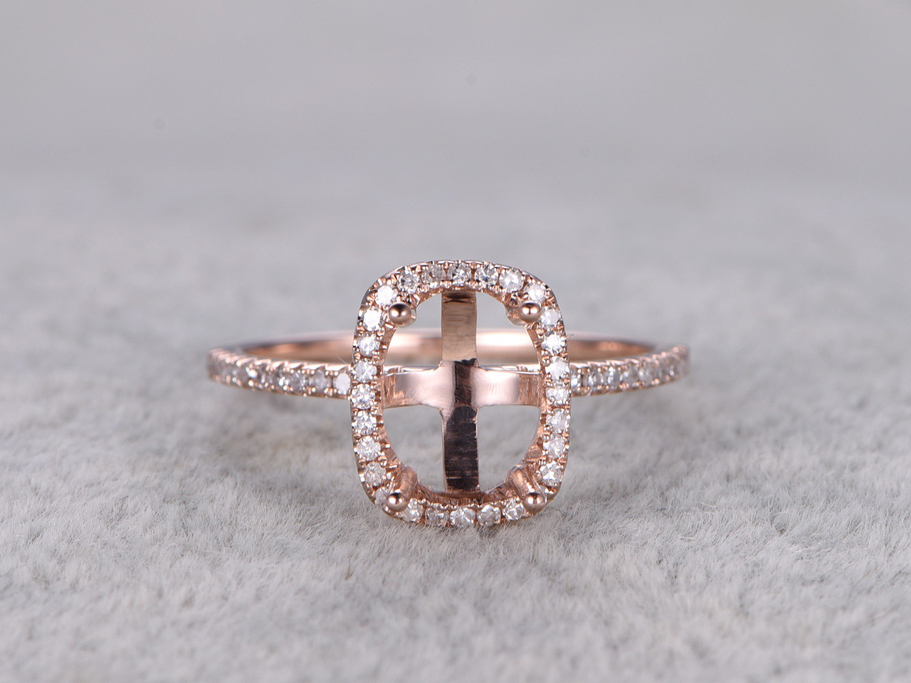 6x8mm Diamond Engagement Ring Settings Rose Gold Oval Cut Semi Mount Halo Bbbgem