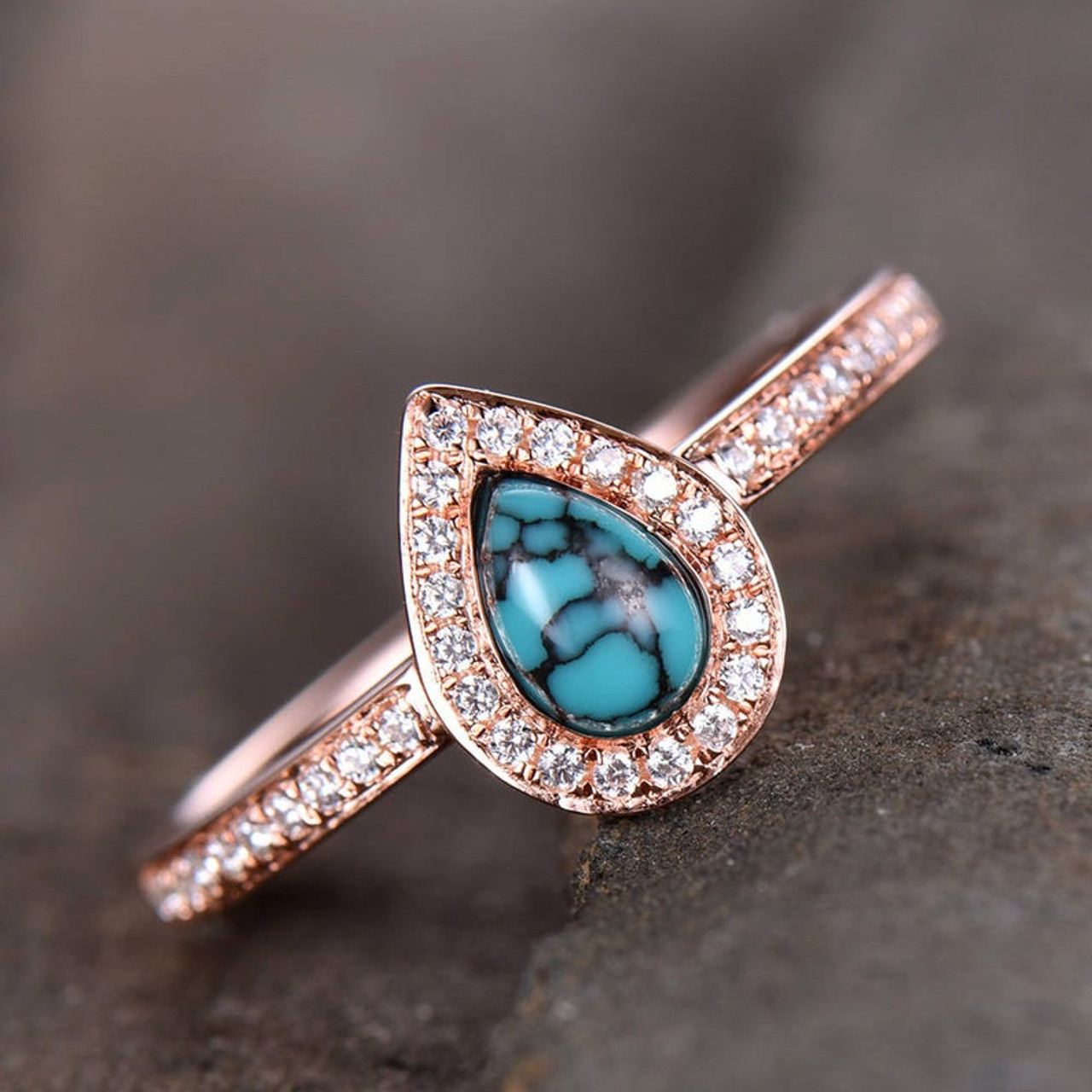 Thin Gold Ring Turquoise Engagement Ring Gold Turquoise Ring 14k Solid Yellow Gold Ring A Size 6.5. Turquoise Gold Ring