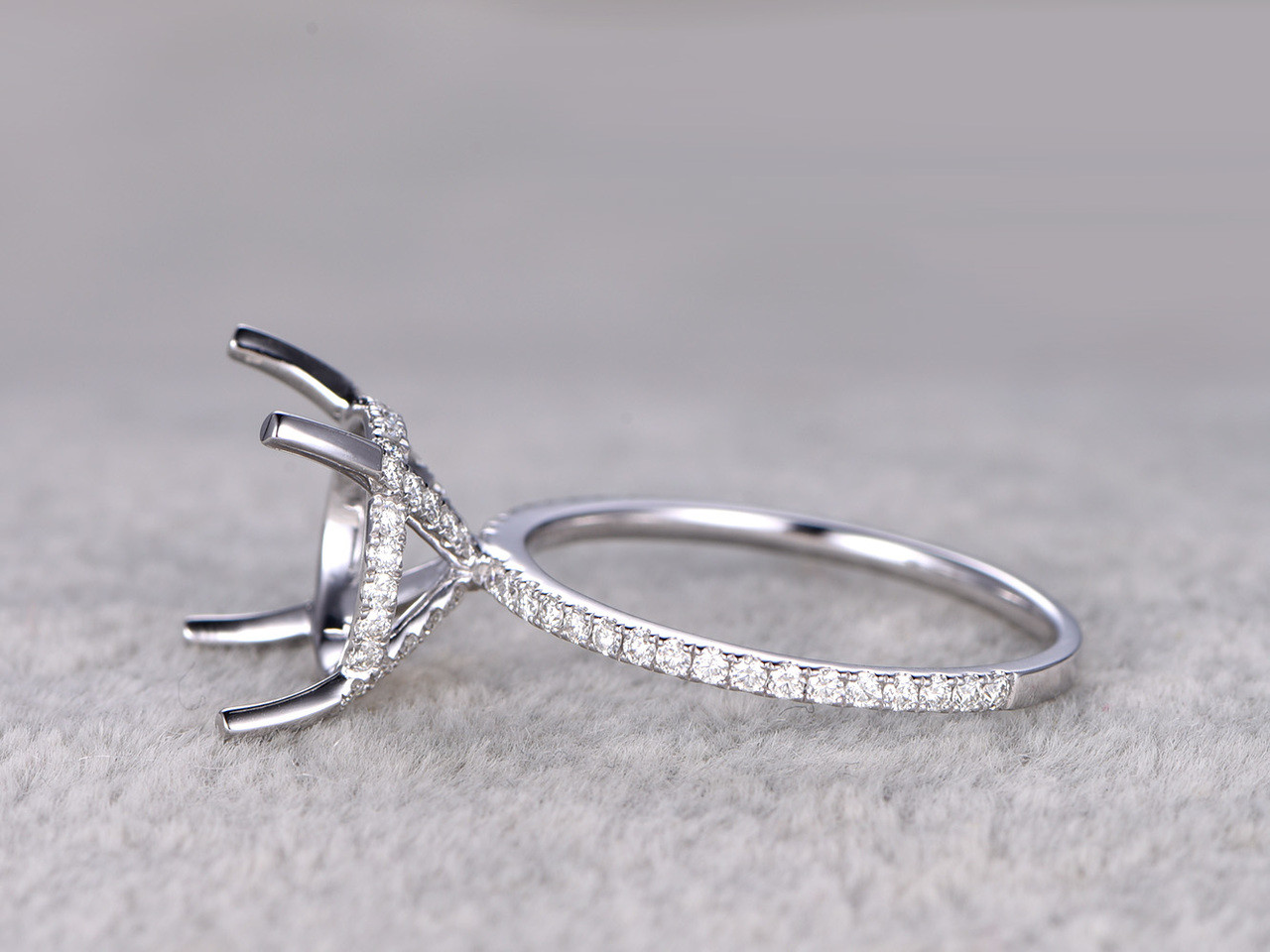 Sterling Silver Semi Mount 10mm Round Cut Diamond Weeding Ring Prong Setting
