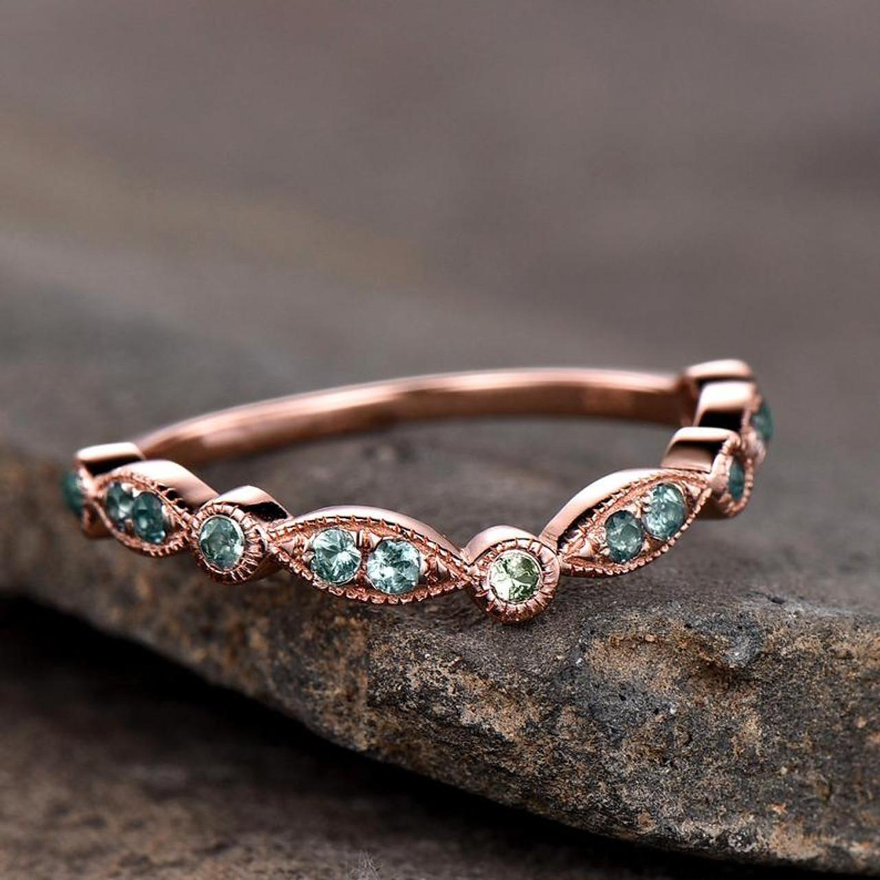 Alexandrite /& Peridot Diamond Bangle Round Bracelet 14Kt Rose Gold Plated