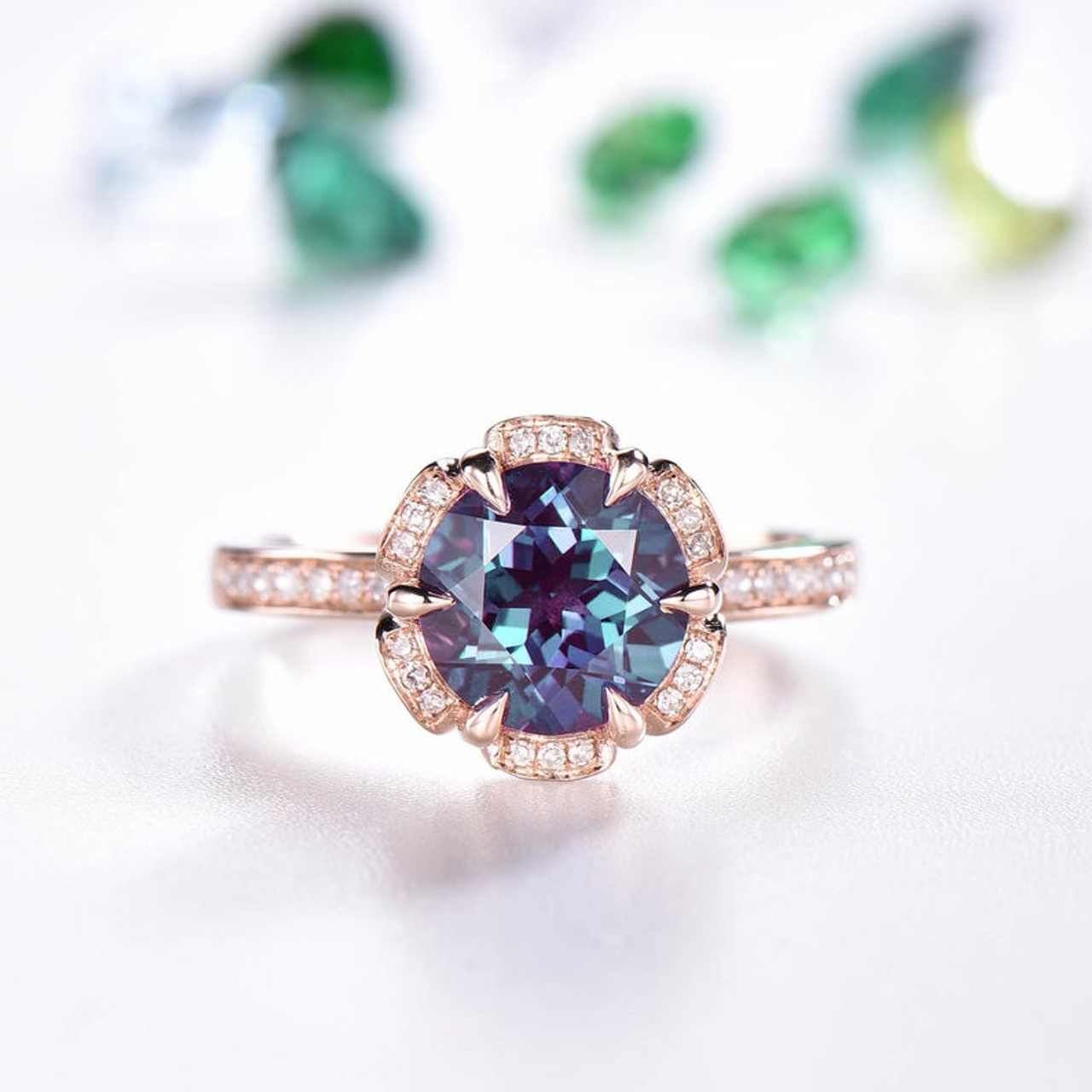 Vintage Alexandrite Engagement Ring Art Deco Flower Halo