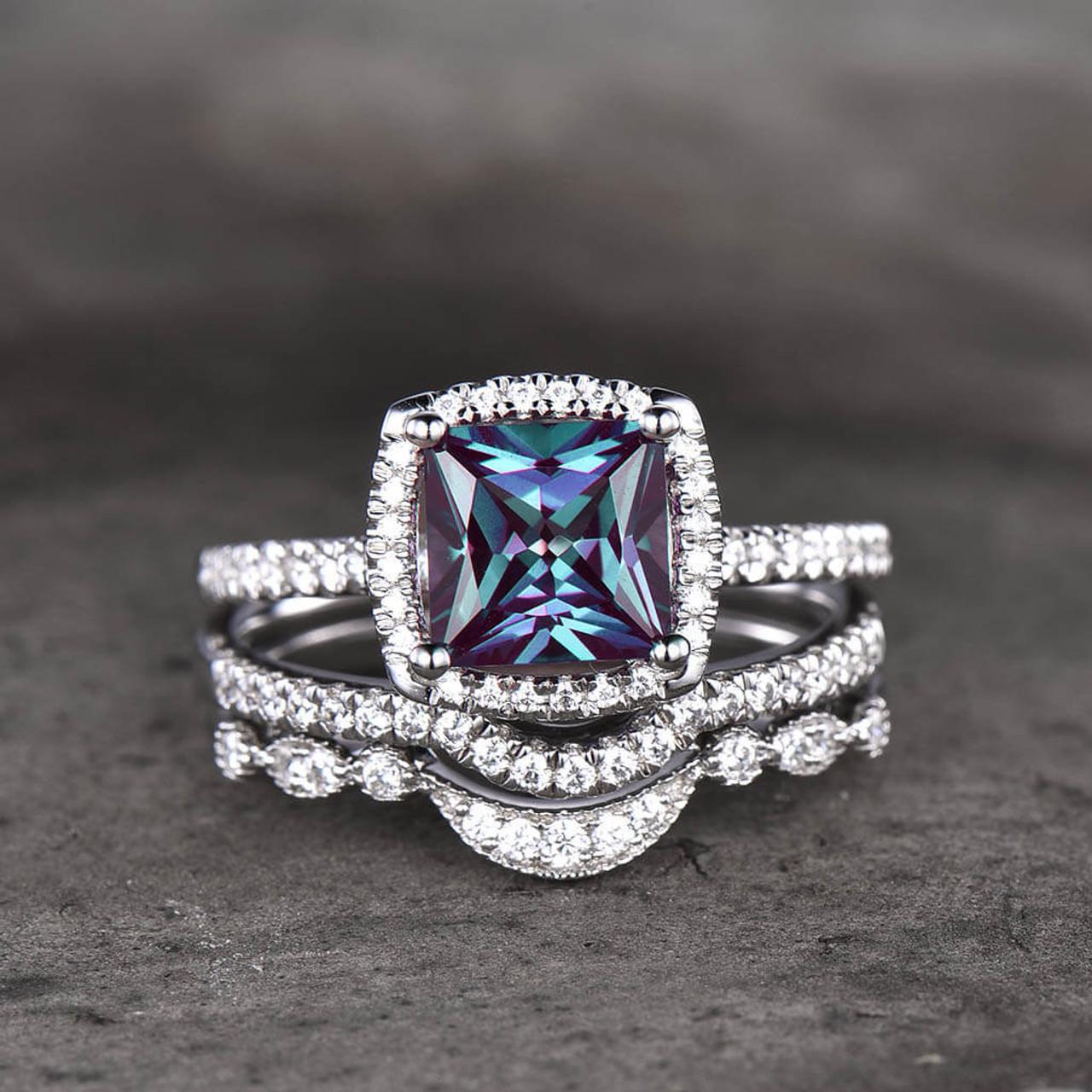 3pcs Princess Cut Alexandrite And Diamond Engagement Ring Set Basket Prong Set