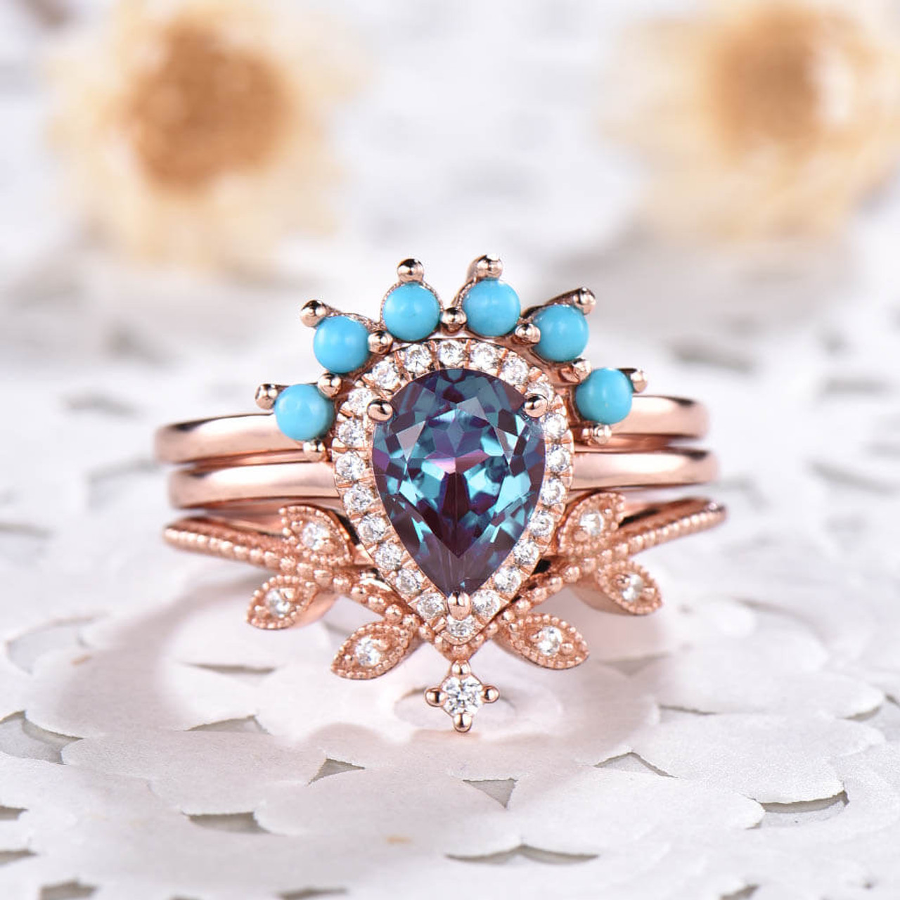 Vintage Pear Shaped Alexandrite Engagement Ring Set Leaf Diamond And Turquoise Ring
