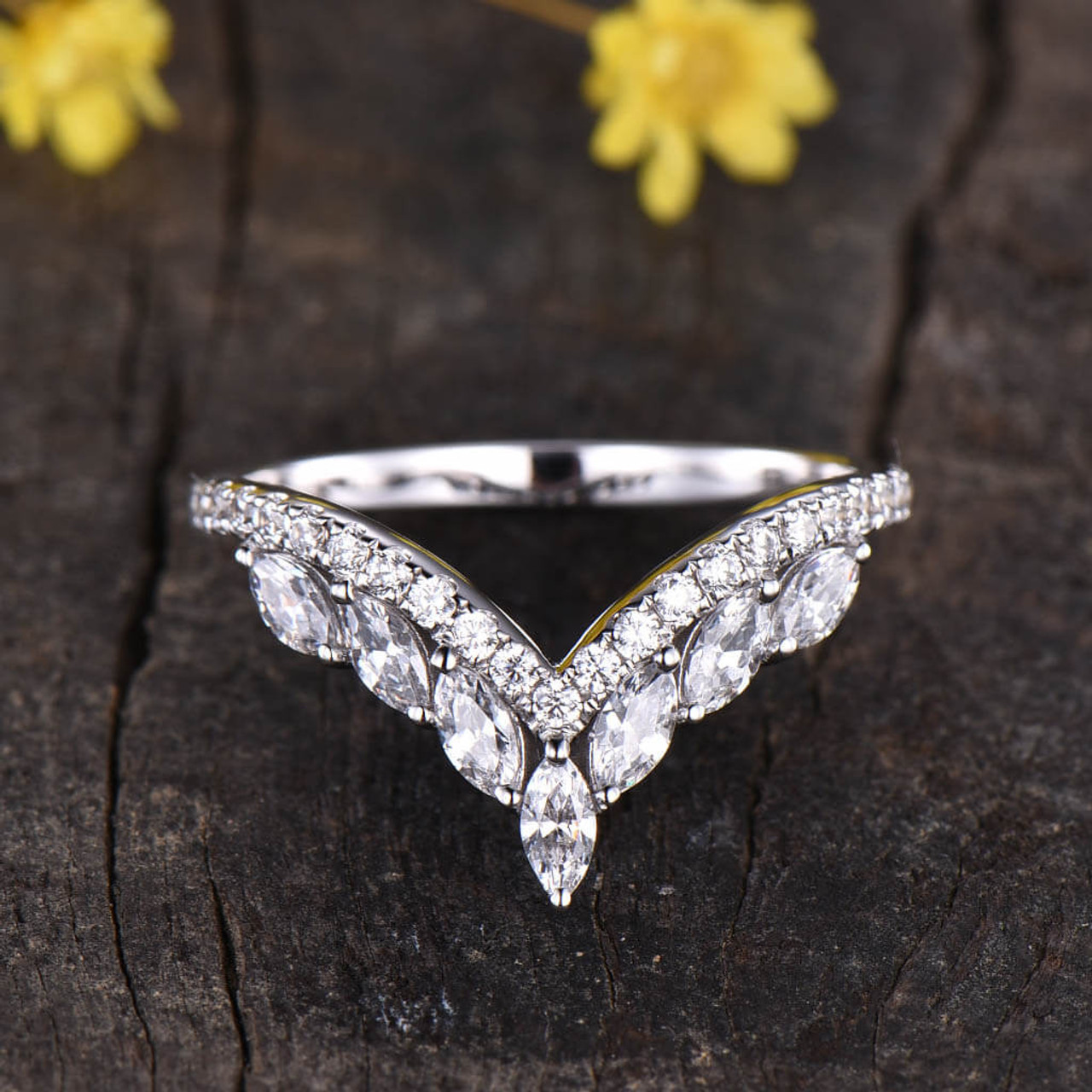 Marquise Moissanite Wedding Band Cluster Stacking Rings Size Choice Yellow Gold Ring Minimalist Ring Promise Ring Full Eternity Women