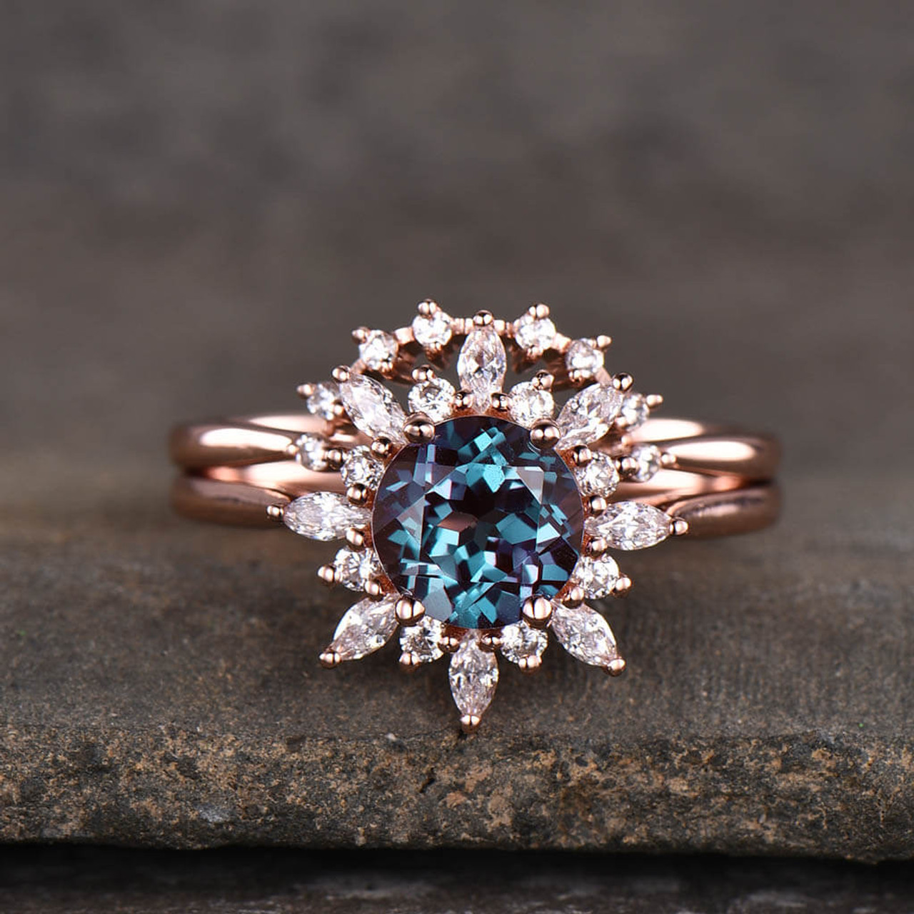 Floral Alexandrite Diamond/ Moissanite Engagement Ring Set 2pcs