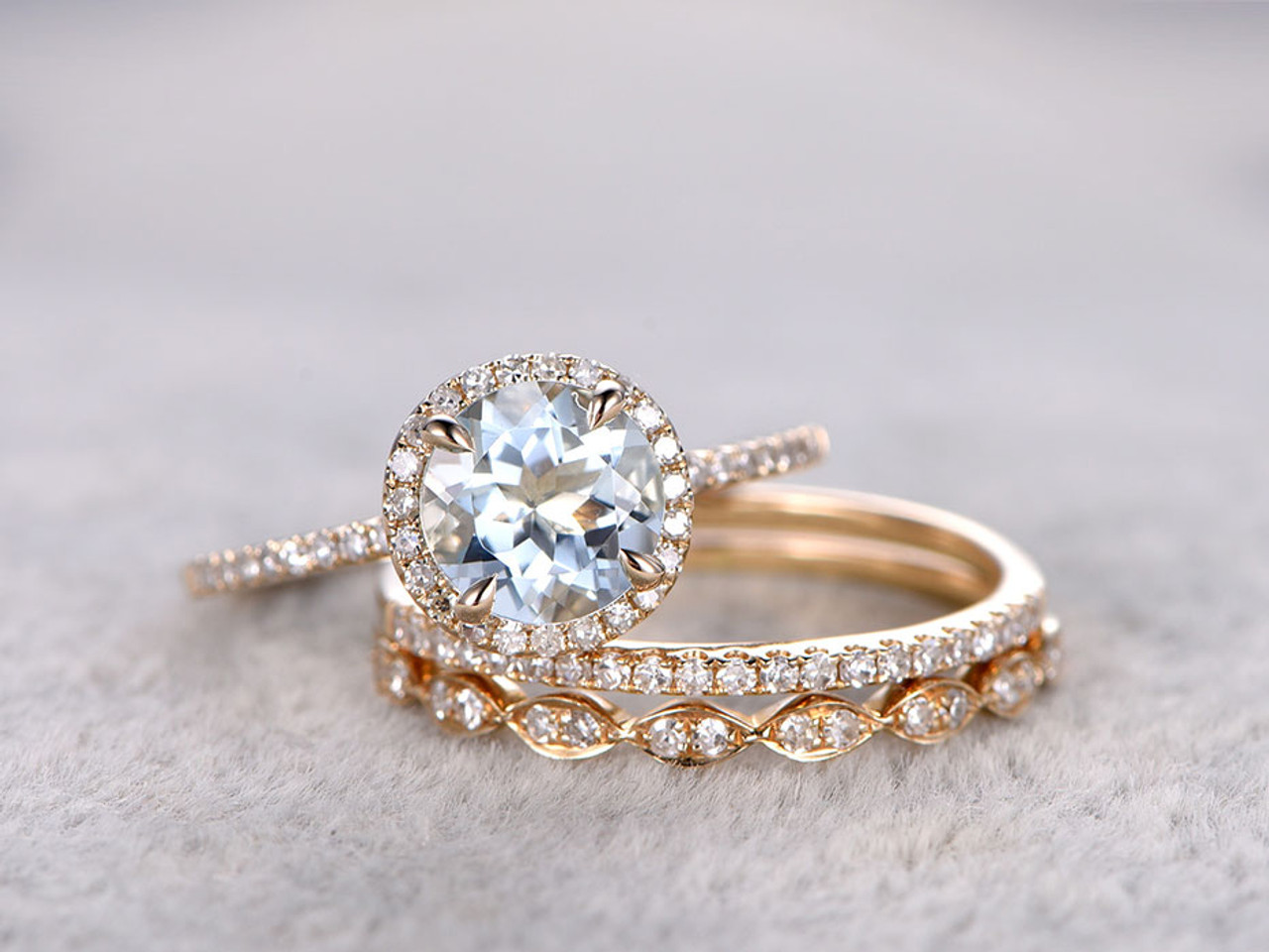 Wedding Ring Sets.3pcs Aquamarine Bridal Ring Set Diamond Wedding Band Yellow Gold Art Deco Thin Stacking Matching 14k 18k