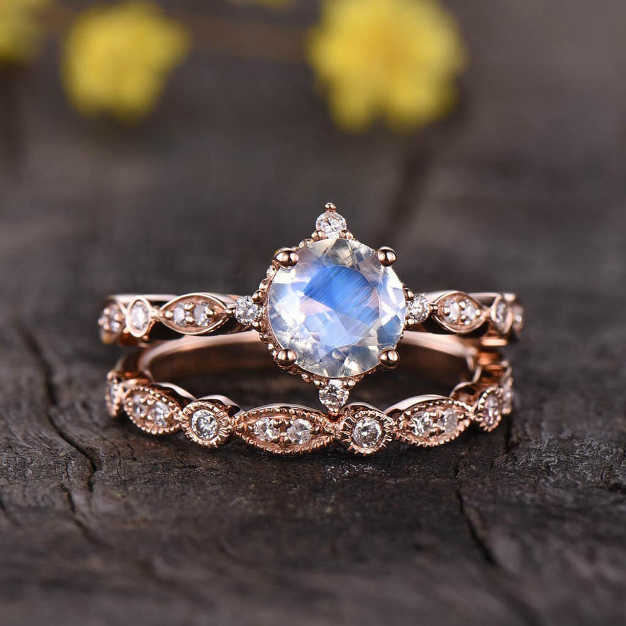 Moonstone Diamond Rose Gold Engagement Ring Set Vintage Art Deco 2pcs Bbbgem