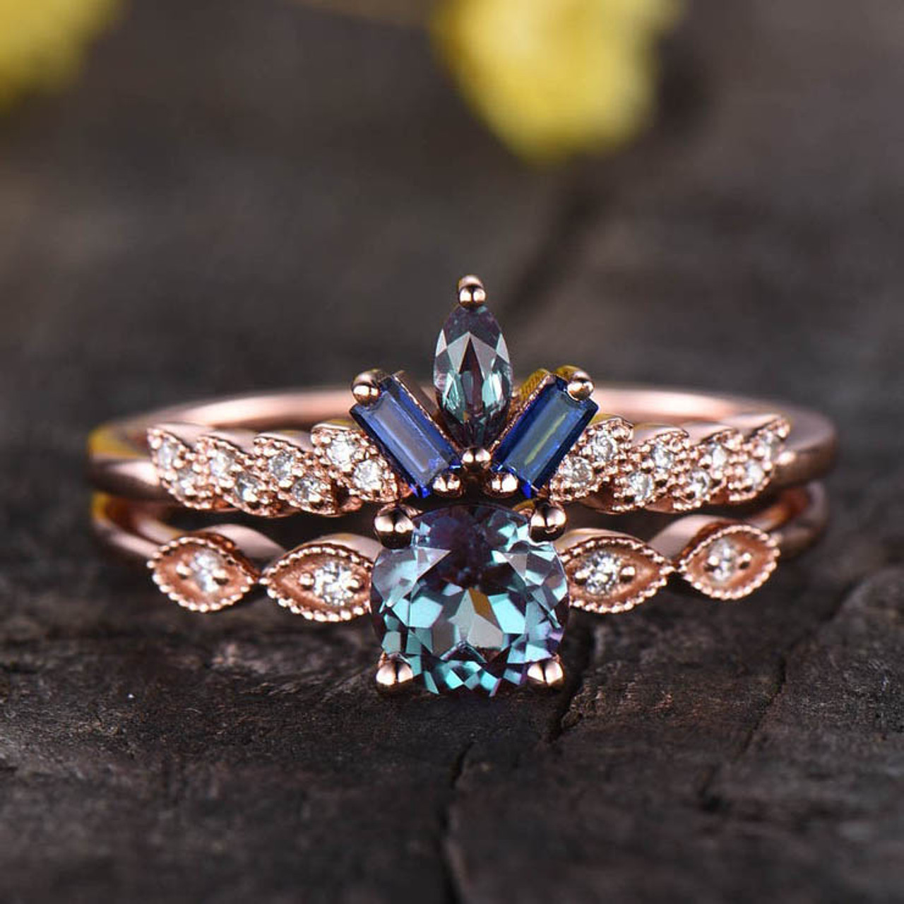 14K/18K Gold Vintage Alexandrite Sapphire Moissanite/Diamond Engagement Ring Bridal Set