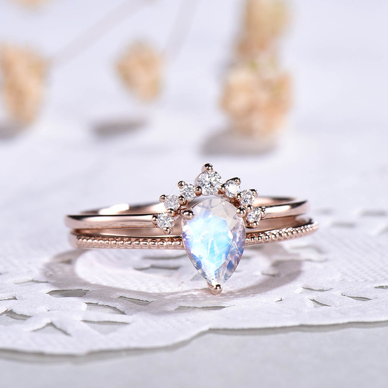 Pear Rainbow Moonstone Ring-Bridal Set-Wedding Ring-Two in One Ring-Gift for Her-Wedding Band