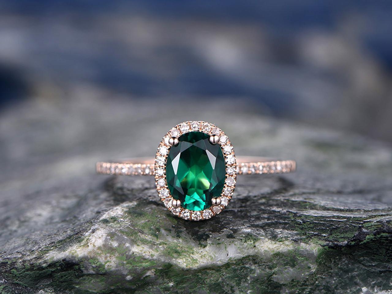 1.25 Carat Lab Emerald Wedding Ring Diamond Engagement Ring Rose Gold 14K Halo Ring Pave Set