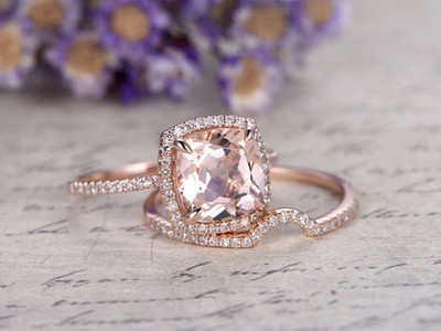 Cushion Morganite ring set