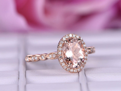 6x8mm Big Morganite Engagement ring