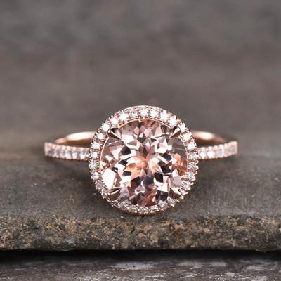 3 carat Morganite engagement ring