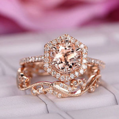 Round Cut Morganite Engagement Ring Rose Gold Morganite Wedding Set