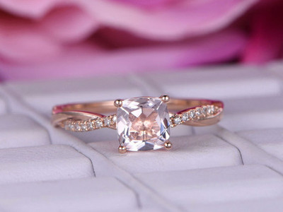 Morganite Engagement Rings cushion cut