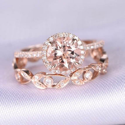 cheap morganite wedding ring sets