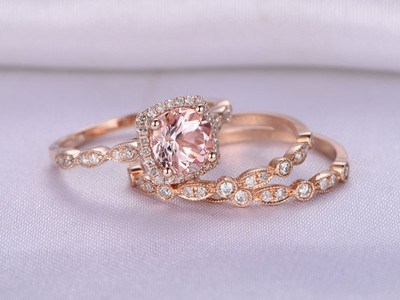 Cushion morganite wedding ring sets