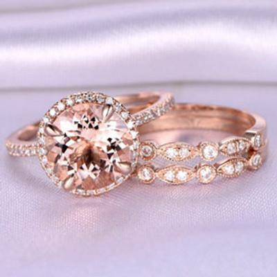 Morganite Wedding Set Rose Gold