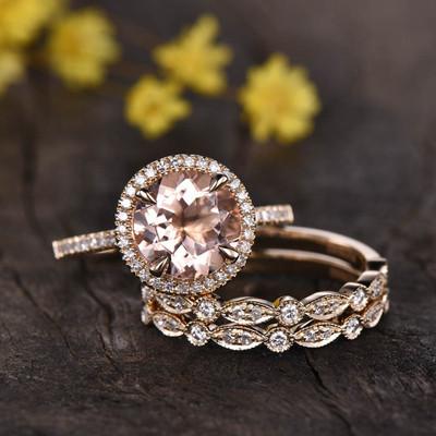 Morganite Engagement Ring-BBBGEM 3ct Morganite Jewelry Set