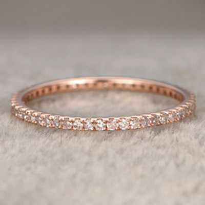 Round Diamond Wedding Ring Solid 14K Rose Gold Micro Pave Thin Design Full Eternity Matching Band