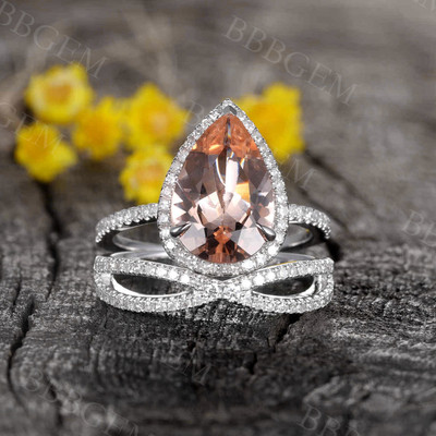 2pcs 12x8mm Tear Droped Peach Morganite Engagement Ring Diamond White Gold Wedding Set
