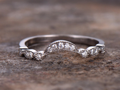 curve cz wedding band