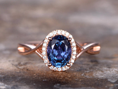 6x8mm Oval Alexandrite engagement ring