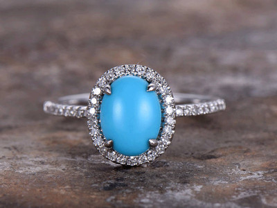 925 sterling silver Turquoise engagement ring