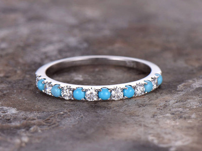 turquoise silver wedding band