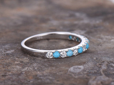USA Seller Eternity Ring Sterling Silver 925 Best Price Jewelry Gift Turquoise